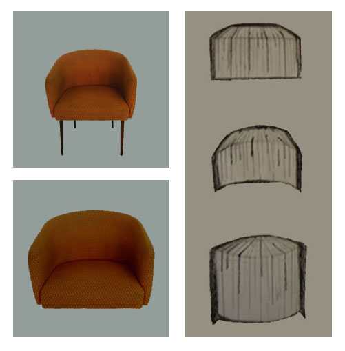 Left: photo of the chair and the seating. Right: different sketches bookshelf