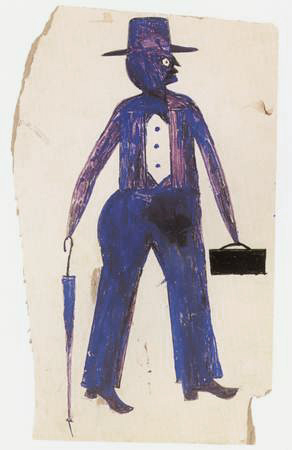 Bill Traylor blue man with suitcase