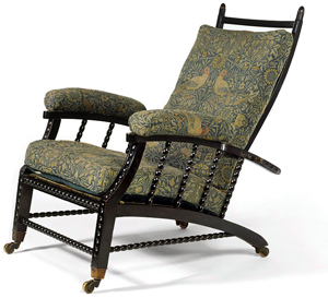 william morris`s chair `bird` with an adjustable back