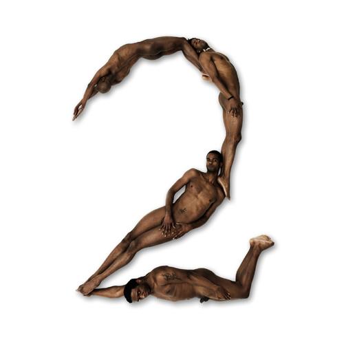 De letter T van Anthon Beeke's blote meisjes alfabet gefotografeerd in 1969 en het cijfer 2 gevormd door naakte zwarte mannen van Naked Numbers 2005-2011.