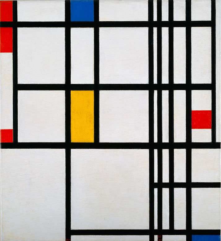 Mondrian-composition-in-red-blue-and-yellow-1937