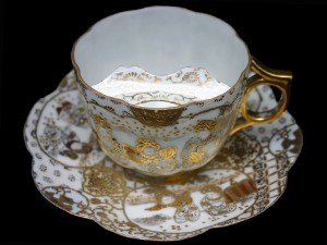 """The Victorian moustache cup: This vessel had an internal shelf that held the drinker's moustache above the liquid so that he could enjoy his beverage without getting a soggy upper lip."" (Garth Clark, ""The Book of Cups"", p. 62)"