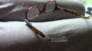 Reading glasses with tape